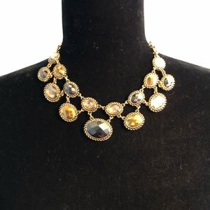 Jewelry - Gold Statement Necklace with Black, Gray, and Gold